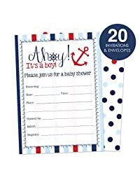 Nautical Baby Shower Invitations for A Boy Fill In Style 20 Count - Ahoy It's a Boy BOBEBE Online Baby Store From New York to Miami and Los Angeles