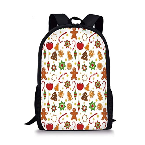 School Bags Gingerbread Man,Festive Christmas Icons Graphic Pattern Star Figures Cookies Apples Bells Decorative,Multicolor for Boys&Girls Mens Sport Daypack -