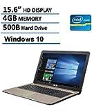 Asus X540SA 15.6-Inch Laptop (Intel Dual Core N3050 2.16GHz, 4GB RAM, 500GB DD, HD LED Backlit Display, DVD/CD Burner, HDMI, VGA, Wifi, Webcam, Windows 10),  Chocolate Black