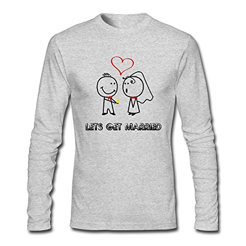 Zhangjiawenn Men's Lets Get Married Long Sleeve T-Shirt S - Pitt Married Brad