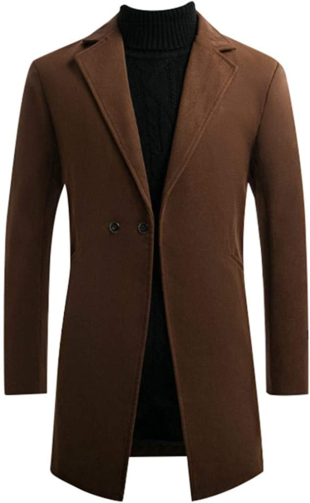 MODOQO Mens Long Trench Coat Single Breasted Slim Fit Overcoat Outwear Jacket for Autumn Winter