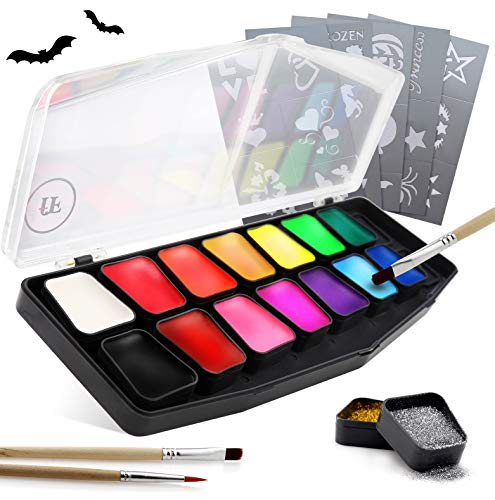 festiFACE Face Painting Kit for Kids and Adults | 2019 Award Winning 14 Color, Glitter and UV Neon Hypoallergenic Complete Gift Set to BOSS Your Halloween Makeup and ()
