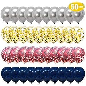 Amazon.com: Globos de confeti de oro rosa, globos de color ...