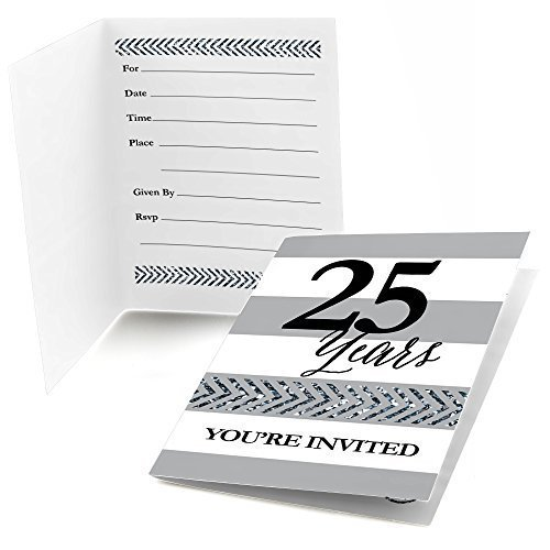 - Big Dot of Happiness We Still Do - 25th Wedding Anniversary - Fill in Anniversary Party Invitations (8 Count)