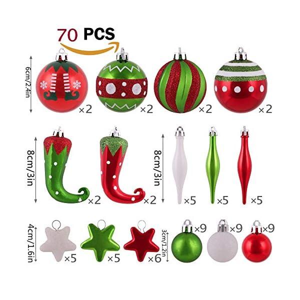 Victor's Workshop Addobbi Natalizi 70 Pezzi di Addobbi Natalizi per Albero, 3-8 cm Delizioso Elfo Infrangibile Ornamenti di Palla di Natale Decorazione per la Decorazione Dell'Albero di Natale 3 spesavip