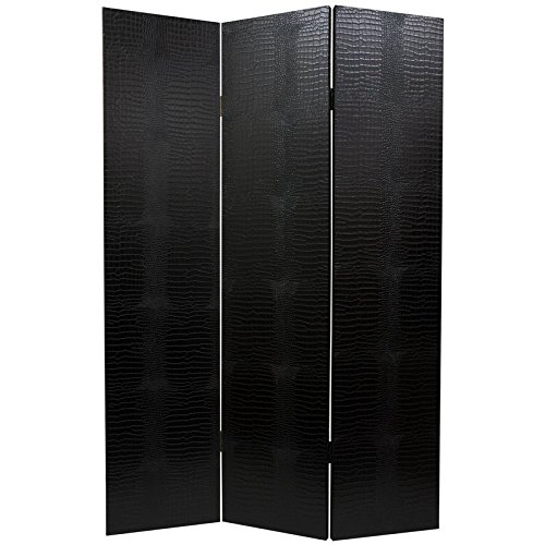 Divider Room Leather - Oriental Furniture 6 ft. Tall Faux Leather Black Crocodile Room Divider
