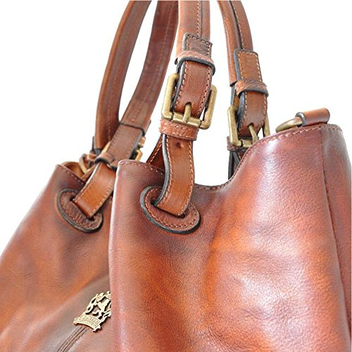 Bucket Leather Shoulder Italian Hobo Aged Pratesi Grey Bag Handbag twqOHztnx
