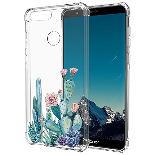Huawei Mate SE Case,Huawei Honor 7X Case with Flower,LUOLNH Slim Shockproof Clear Floral Pattern Soft Flexible TPU Back Cover for Huawei Honor 7X (2017)/Mate SE(Cactus)