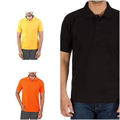 f86aa85deeaa0 Revent Men's Comfort Soft Cotton Plain Polo Collar Half Sleeve T-Shirt with  Solid Color