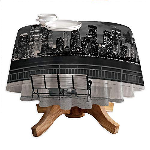 Black and White Decorations Round Polyester Tablecloth,NYC Skyline from Liberty State Park Vibrant Air Balloon in Sky,Dining Room Kitchen Round Table Cover,36