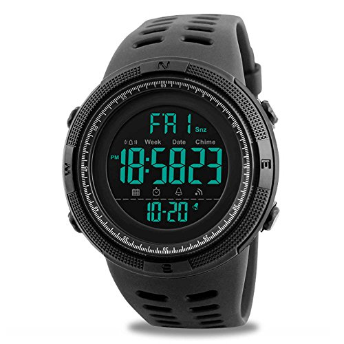 Kavie Mens Digital Sports Watch, Military Waterproof Watches Fashion Army Electronic Casual Wristwatch with Luminous Calendar Stopwatch Alarm LED Screen - Black