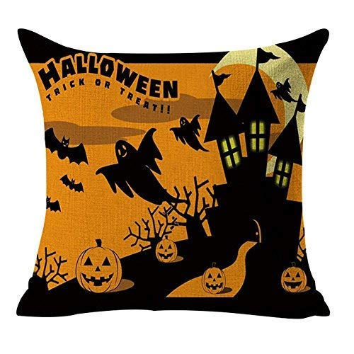Happy Halloween Bat Witch Pumpkin Owl Black Cat Cotton Linen Home Decorative Throw Pillow Case Cushion Cover for Couch Sofa Bed 18