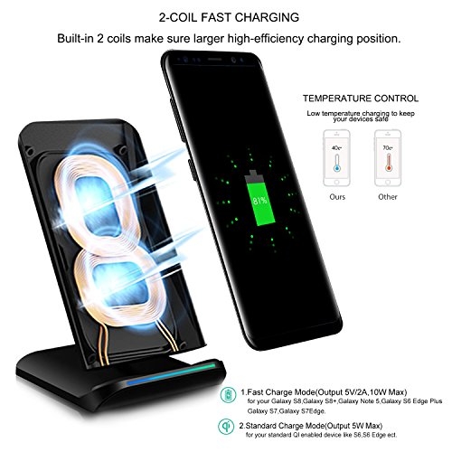 pleson fast wireless charger qi certified 10w fast. Black Bedroom Furniture Sets. Home Design Ideas