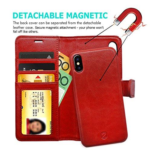 iPhone X Funda ZUSLAB [Billetera Delgada] 2 en 1 Carcasa Billetera en Cuero Sintético, Funda extraíble magnética, Carcasa plegable cartera Con cierre magnético del botón, Tarjeta Bolsillo Cubierta, Ra Vino tinto