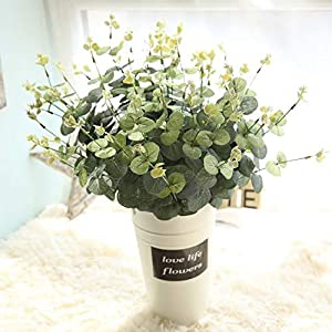 Memoirs- Silk Leaf Eucalyptus Artificial Green Leaves for Wedding Decoration DIY Wreath Gift Scrapbooking Craft Apple Plants Fake Flower,47Cm Gardenia White 3
