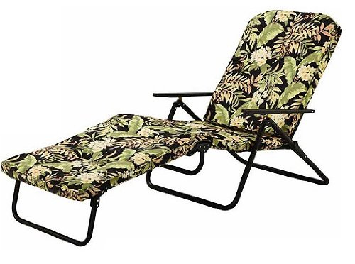 Mainstays Padded Folding Chaise Lounge, Black Tropical