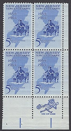 1964 5 Cent New Jersey Tercentenary Number Block of Four Stamps Scott 1247