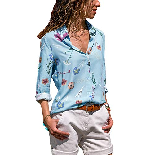 Taille color Print Breasted Blouse Tops Plus Manches Single Taille Casual 's Fashion Bleu Bleu FuweiEncore Lapel Style Women Floral Longues M xgaW6P