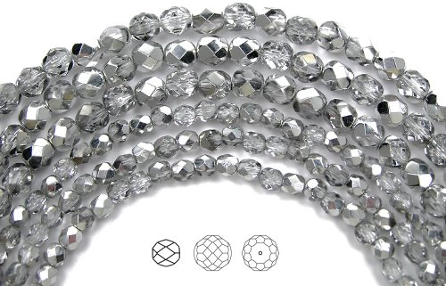 10mm (41) Crystal Labrador Half Coated (CAL), Czech Fire Polished Round Faceted Glass Beads, 16 inch strand