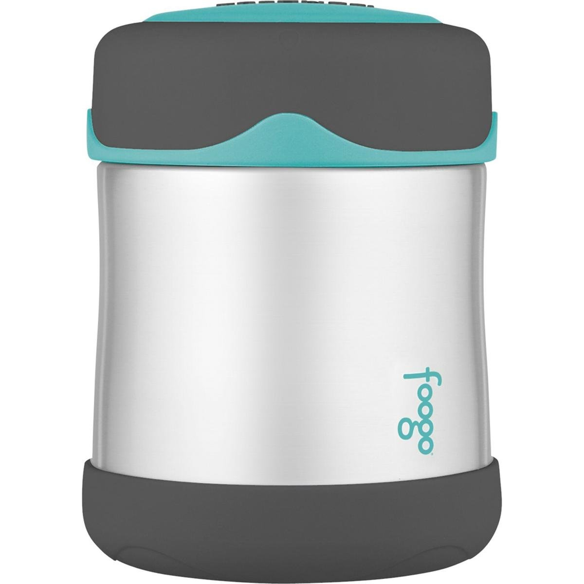 Thermos FOOGO Stainless Steel Food Jar, Charcoal/Teal, 10 Ounce (1, A)