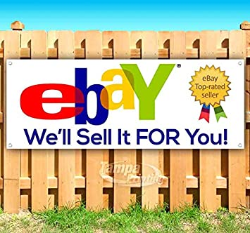 Amazon Com Ebay We Ll Sell It For You 13 Oz Heavy Duty Vinyl Banner Sign With Metal Grommets New Store Advertising Flag Many Sizes Available Office Products