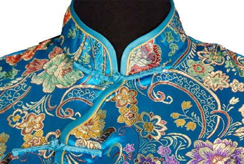 7Fairy Women's Vtg Turquoise Ten Buttons Long Chinese Dress Cheongsam Size 6 US by 7Fairy (Image #3)
