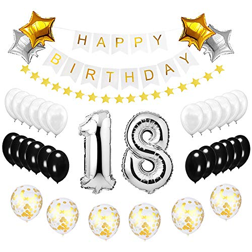 Best Happy to 18th Birthday Balloons Set - High Quality Birthday Theme Decorations for 18 Years Old Party Supplies Silver Black Gold -