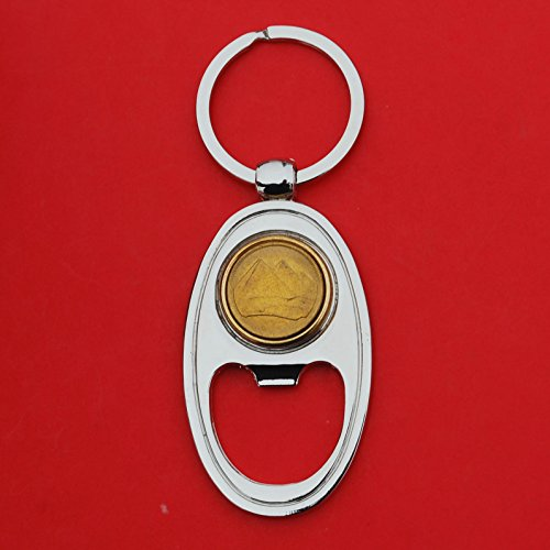 (Egypt 1984 1 Piastre Gold Pyramids Gem BU Uncirculated Coin Gold Silver Two Tone Key Chain Ring Bottle Opener NEW)