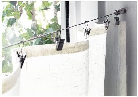Amazon Com Wire Cable Curtain Rod System With Clips Home Kitchen