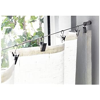 Amazon Com Wire Cable Curtain Rod System With Clips Home