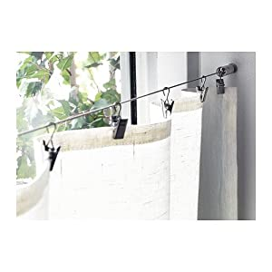 WIRE CABLE CURTAIN ROD SYSTEM WITH CLIPS