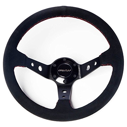 Circuit Performance CP330 Steering Wheel Black Center with Black Suede and Red Stitching 350mm Deep Dish -