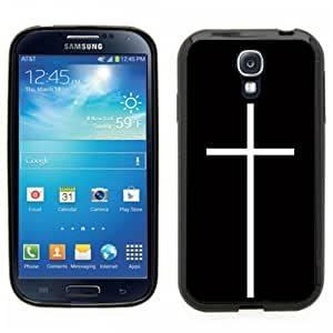 Samsung Galaxy S4 SIIII Black Rubber Silicone Case - Hipster Christian Cross Thin Cross Hipster