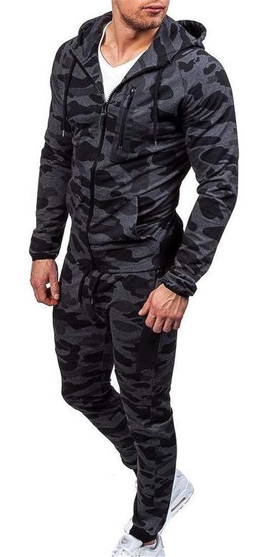 Agana Mens Casual Camo Sportwear Hooded Sweatshirt and Pants Tracksuit Set