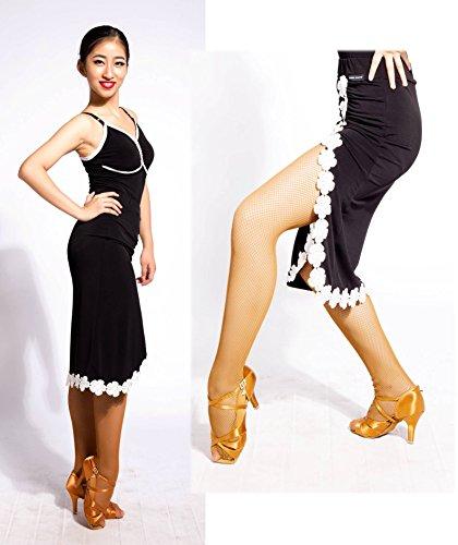 Disegno Del G2028 black A Le Scgginttanz Ballo Mano Moderno Da Professionale Latino sbs Gonne Fiori Cucito Danza vwd4qz
