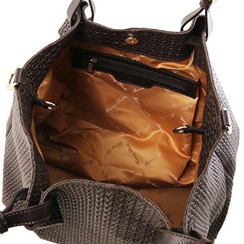 Tuscany Leather TL KeyLuck Bolso shopping TL SMART en piel imprimida tejida - Tamaño grande Violeta Bolsos de asa larga Marrón oscuro