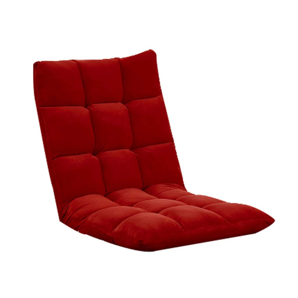 Wine Red Floor Chair, Lazy Couch Chair Single Foldable Meditation Chair Bed Computer Chair Bedroom Bay Window Leisure Chair, Multi-color Optional (color   Wine Red)