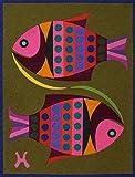 """PISCES,""Spanish""Encanto""Tapestry, 7.5'' X 9.5""Original Mid-Century Modern, c.1965,100% Virgin Wool Felt,Mint Condition.ASTROLOGY SERIES."