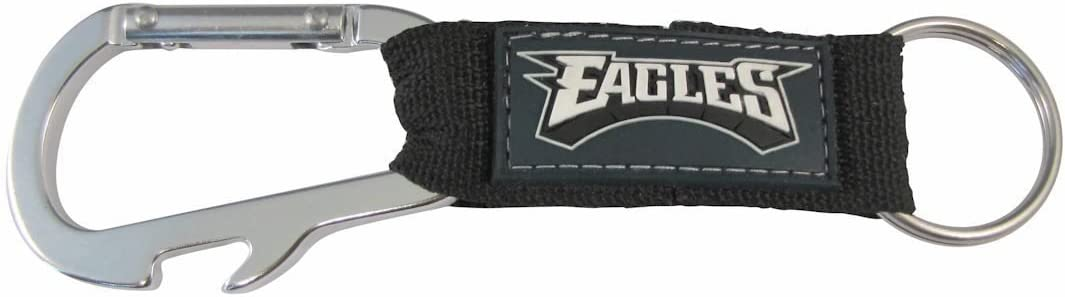 Nylon Strap with PVC Logo NFL Carabineer Keychain and Bottle Opener