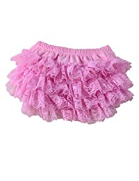 Wennikids Ruffled Lace Baby Diaper Bloomer Covers for 0-24M