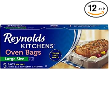 Reynolds Kitchens Large Oven Bags, 16x17.5 Inch, 12 Packs of 5 Count