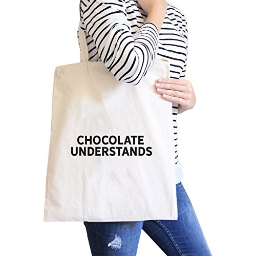 (365 Printing Chocolate Understands Natural Canvas Bag Holiday Gifts Tote Bags)