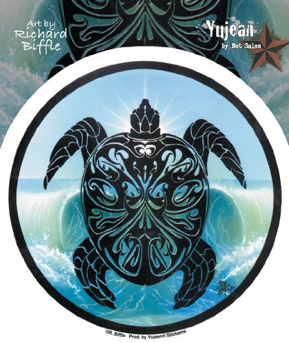 BIFFLE ART PARTING THE WAVES TRIBAL SEA TURTLE DECAL/ STICKER