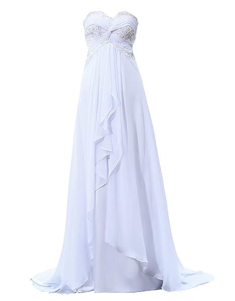 Callmelady Cariño Playa Vestidos de Novia Gasa Rosario Vestidos de Boda (Blanco, EU30)