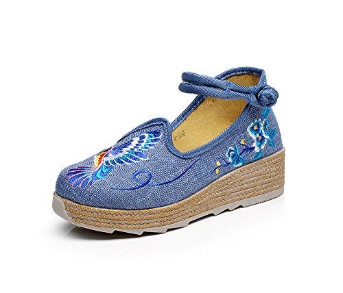 aumentados GuiXinWeiHeng blue manera xiuhuaxie ¨¦tnico del Zapatos estilo tend¨®n lino bordados femeninos zapatos ocasional lenguado c¨®modo rrBFaHwPq
