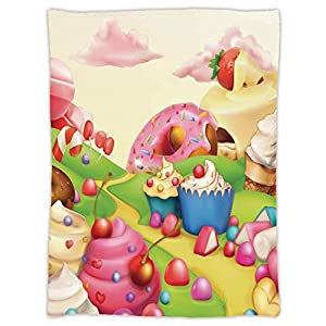 iPrint Super Soft Throw Blanket Custom Design Cozy Fleece Blanket,Modern,Yummy Donuts Sweet Land Cupcakes Ice Cream Cotton Candy Clouds Kids Nursery Design,Multicolor,Perfect for Couch Sofa or Bed