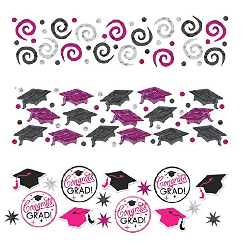 - Amscan Sparkling Graduation Party Confetti Decoration (Pack of 1), Pink/Black, 12 oz