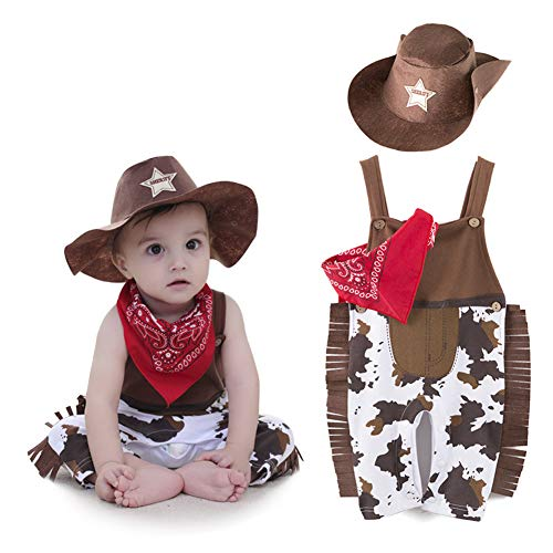 ZTie Little Baby Boys Costume Western Cowboy Romper Outfit Sets with Scarf Hat for Halloween Birthday Holiday Party (3-6 Months, Brown)