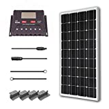 Renogy 100 Watt 12 Volt Monocrystalline Solar Starter Kit with 30A PWM Controller - LCD Display