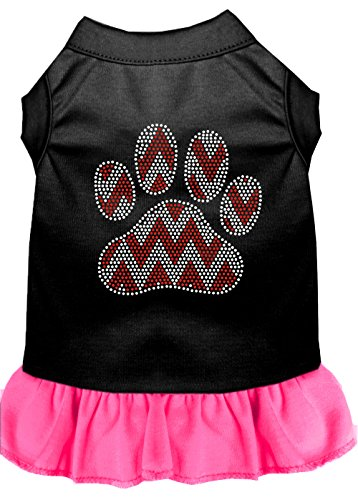 Mirage Pet Products 57-70 BKBPKXS Candy Cane Chevron Paw Rhinestone Dog Dress, X-Small, Black with Bright Pink (Dog Rhinestone Dress)